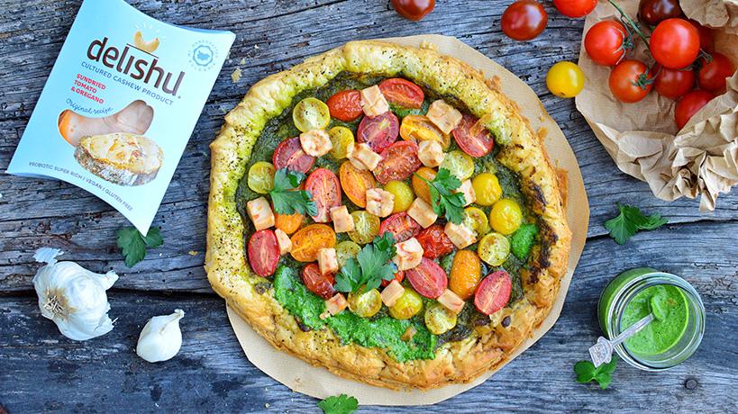 Пица с бутер тесто и Delishu със Сушени домати и Риган