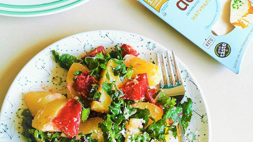 Картофена салата с кейл, червено цвекло и натурално Delishu